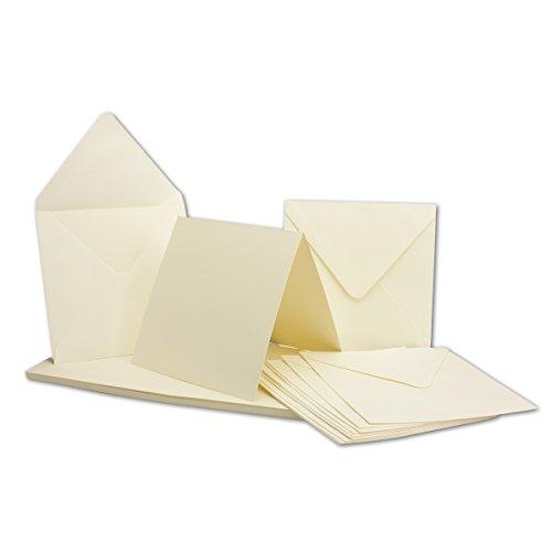 Quadratische Karten 13,5x13,5 inklusive Briefumschläge 14x14 | 50er-Set | Blanko Einladungskarten in Creme-Weiß| Klapp-Karten/Falt-Karten | ideal zum Selbstgestalten & Kreieren