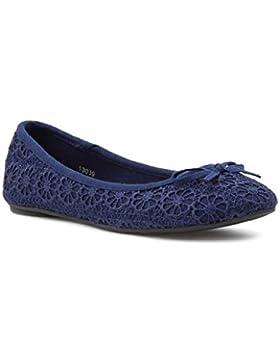 Lilley - Donna - Ballerine blu navy con stampa floreale all'uncinetto