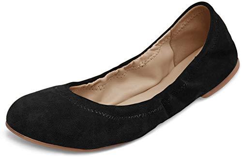 Xielong Damen Chaste Ballett Flache Lammfell Loafers Casual Damen Schuhe Leder, Schwarz (Schwarze Velourslederoptik), 39.5 M EU -