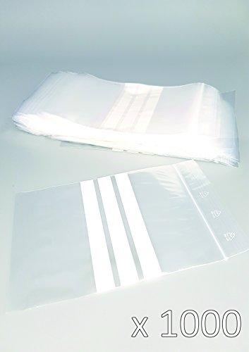 Bolsas plástico cierre zip bandas blancas - 80mm