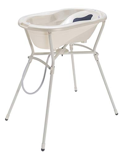 Rotho Babydesign Komplett-Badeset mit Wanne und Klapp-Ständer, 0-12 Monate, Max 25kg, TOP, Perlweiß Creme, 21060010001