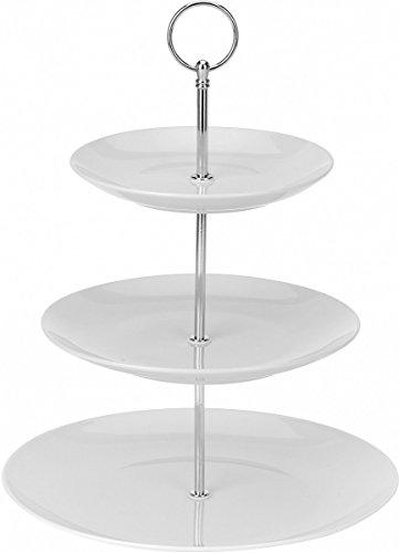 Excellent Houseware Etagère aus Keramik mit 3Etagen, Servierplatte, Porzellan