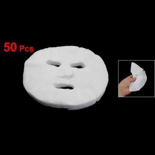 TOOGOO(R) TOOGOO(R) 50 Stueck Weiss Kosmetik Vergroesserte Baumwolle Gesichtsmaske Blatt fuer Damen