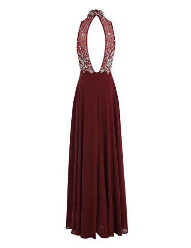 Dresstells Damen Neckholder Applikation Abendkleid Durchsichtig Ärmellos Festkleid Bodenlang Partykleid Dunkelrot