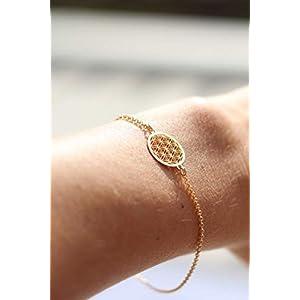 GLASHÜPFER Armband 925 echt Silber – vergoldeter Blume des Lebens Lebensblume filigran