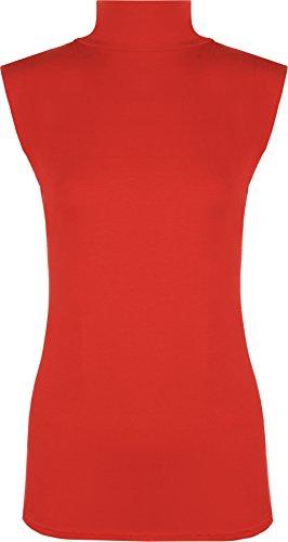WearAll - Damen Rollkragen Elastisch Ärmellos Unterhemd Bodycon Top - Rot - 36-38 (Ärmelloses Spitzen-top)