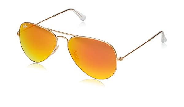5a85ad6a907 Ray-Ban RB3025 Aviator Sunglasses Matte Gold Orange Mirror (112 69) RB 3025  58mm  Amazon.co.uk  Clothing