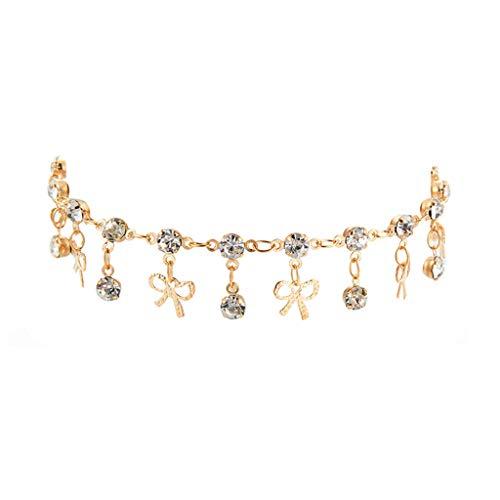 ToDIDAF Mode Fußkettchen Armband für Frauen Mädchen Fußkette aus Metall Modischer einfacher runder Tropfen-Schmetterling kombiniert mit Goldkette für Strand Sommerferien Reisen