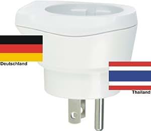 Design Reisestecker Adapter Thailand auf Deutschland, Schukostecker, Umwandlungsstecker TH-D