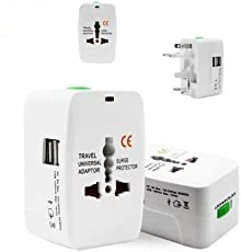 Prime Deals Universal Adapter Worldwide Travel Adapter with Built in Dual USB Charger Ports (White)