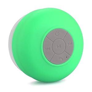 Memteq - Cassa impermeabile bluetooth per doccia con ventosa, ideale per bagno, piscina, auto, cucina, compatibile con smartphone e tablet delle maggiori marche, da iPhone, iPad, iPod a Samsung Galaxy, Nokia, HTC, Blackberry, Google, LG e Nexus, colore: verde