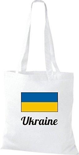 Shirtinstyle Borsa Di Stoffa Cotone Borsa Paese Iuta Ucraina Colore Bianco Marrone Chiaro