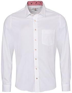 Almsach Trachtenhemd Gerd Slim Fit Zweifarbig in Weiß und Rot Inklusive Volksfestfinder