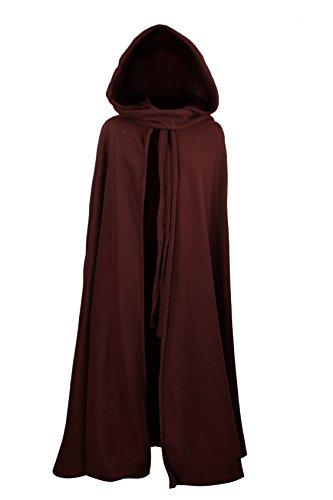 Mittelalterlicher Fleece Umhang - wärmend - braun L130 (Poncho Gugel,)