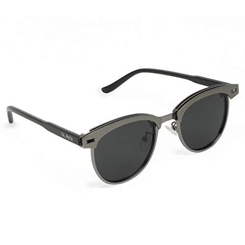 St. Polk Polarisierende Sonnenbrille mit leichten, bruchfesten Rundgläsern & Spiegeleffekt, für Sie und Ihn