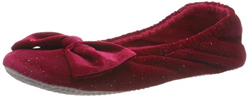 Isotoner Sparkle Big Bow Ballet Slippers, Chaussons Bas Femme
