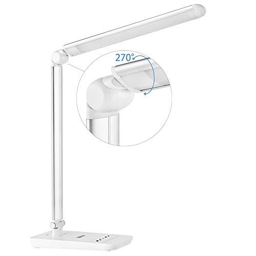 LEDGLE Lámpara de mesa, flexo LED de 9W Lámpara plegable Luz con control táctil, 7 Niveles de Brillo, 7 modo de temperatura de color, diseño giratorio, gran panel LED, regulable