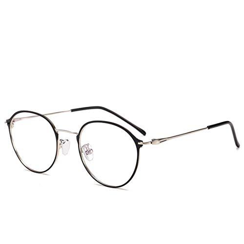 Shiduoli Mode-Glasrahmen runde Metallrahmen Nicht verschreibungspflichtige Brillen für Frauen Männer (Color : Silver)