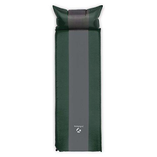 Yukatana Goodsleep 10 Luftmatratze Isomatte Luftbett selbstaufblasend mit Kopfkissen für Camping oder Trekking (198 x 63cm, 10cm dick, selbstaufblasend, kleines Packmaß) Grün-Grau