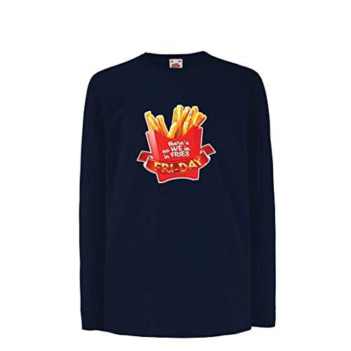 irt mit Langen Ärmeln Es gibt Keine wir in Pommes Freitag Outfit Junk Food Liebhaber (12-13 Years Blau Mehrfarben) ()