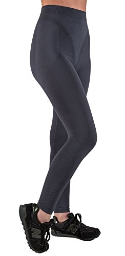 Figurformende Anti-Cellulite lange Hose (Leggings) mit Massageeffekt - Graphitgrau Größe M