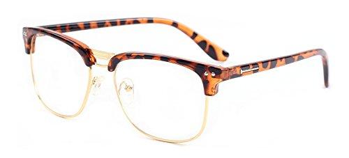 Outray Vintage Retro Halb Rahmen Plain klare Linse Brille 2134c4 Leopard (Schwarz Umrandeten Lesebrille)