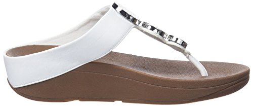 FitFlop Halo Toe Thong, Sandales Plateforme Femme Blanc