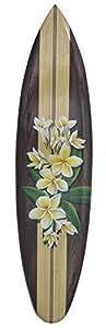 Surfboard mit Frangipani Blumen Motiv Deko Surfbrett 100cm Hawaii Holzschild