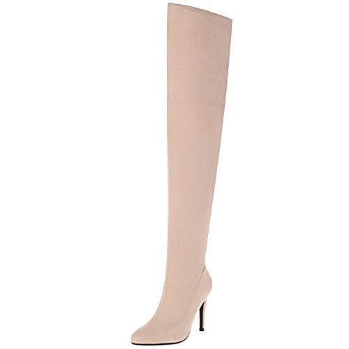 COOLCEPT Mujer Moda Tacón Alto Botas Sobre la Rodilla Cremallera Tacón de Aguja Botas Cortas Otoño Botas Apricot Size 39 Asian