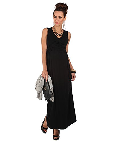 The Essential One -Maxi Vestido premamá sin mangas / Vestidos Lactancia para mujer negro EOM88