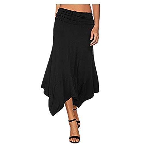 Tomasa Kleid- Frauen Langer Rock mit hoher Taille beiläufiger Fester unregelmäßiger Rand mittlerer Taillen mittlerer Waden Längen Rock Kleid - Mitte Kalb Länge Rock
