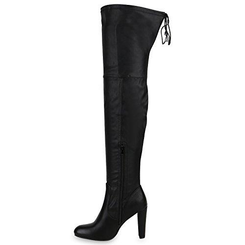 Elegante Damen Stiefel Overknees High Heels Lederoptik Schuhe Schwarz