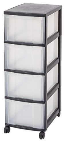 Unbekannt IRIS Schubladenbox mit Rollen schwarz/transparent (4 große) - Schubladenschrank Schubladen-Container stapelbar Rollwagen Rollcontainer Werkzeugschrank Keller (Iris Rollen)