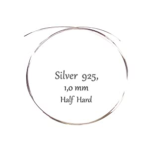 1,0 Millimeter Silberdraht 925 Sterlingsilber Massiv Rund, 1 Meter Lang, Halb Hart