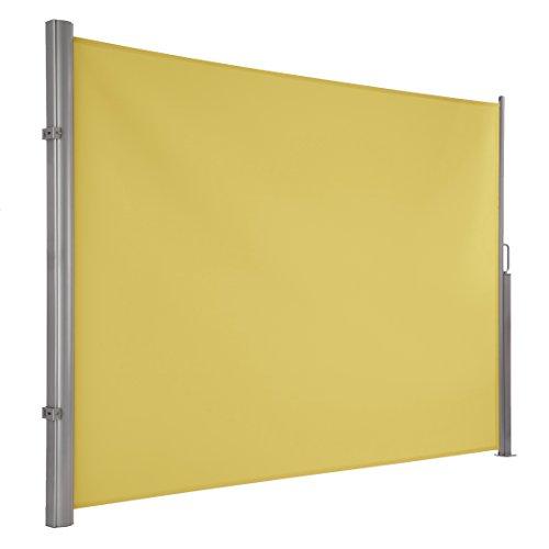 Ultranatura Maui Seitenmarkise ca. 180 x 300 cm, Seitenwandmarkise ausziehbar, Seitenrollo Balkon, Terrasse & Garten, Windschutz & Sichtschutz robust, gelb