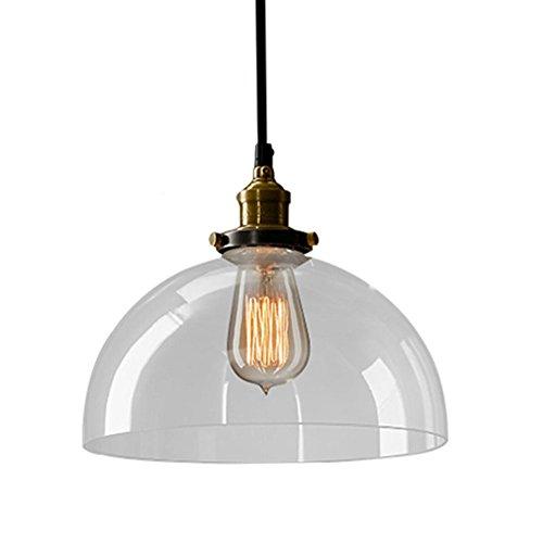 Preisvergleich Produktbild EMOTREE 1x Glas Schirm Halb-Kugel-Form Hängelampe Pendelleuchten Retro Antik Nostalgia Lampe Leuchte für E27 Glühbirne