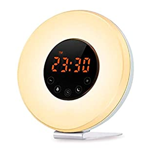 Dchaochao Sunrise Alarm Clock,Digital LED Clock with Touch Control,6 Natural Sounds,FM Radio,USB Charger