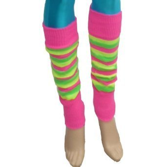 Barbie Kostüm Beinlinge 40 cm aus Toy Story, Florescent Gestreifte Stulpen Flo (Striped)