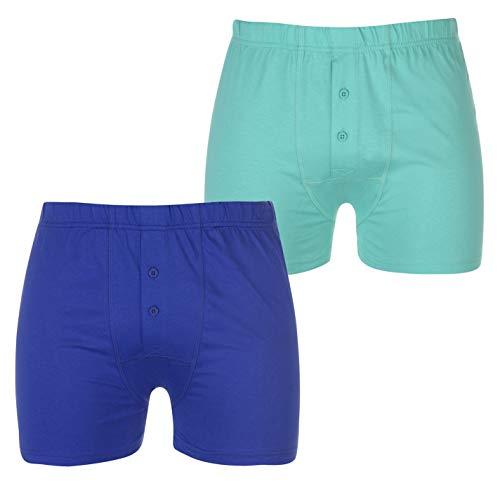 Lonsdale Hombre Boxers 2 Paquete Azul/Spearmint M
