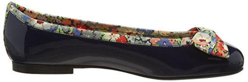 French Sole - Henrietta Large Bow Patent Leather Thorpe K Liberty Print, Ballerine Donna Blu (Navy)