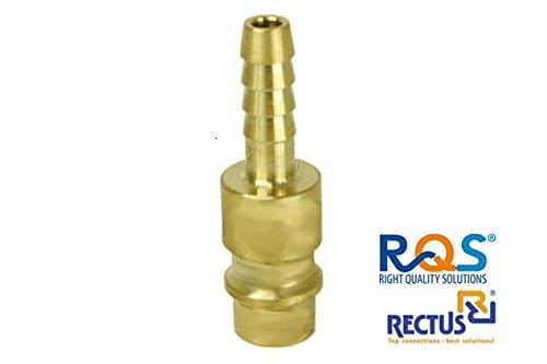 1 Stück Rectus RQS Druckluftstecker für Schnellkupplung RQS (TYP 26) mit Schlauchanschluss in der Große 6mm , 8mm und 9mm zur Auswahl / Adapter / Made in Germany / höchste Qualität / Stecknippel / Standardprofil EURO / Schlauch / aus Messing hergestellt / anschuluss / Standardwerkzeug / für pneumatische Geräte / Gewinde wird mit Sonder-Schaum beschichtet / Druckluft / Kompressoren / Vulkanisierung / Werkstatt / Heimwerken / Werkzeug / Workshop / Tool / NEU (6mm) (Pneumatische Werkzeuge Zubehör)