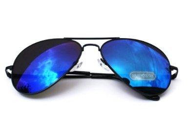 Nick and Ben Pilotenbrille Sonnenbrille Brille Fliegerbrille Schwarzer Rahmen Blaue Gläser Kostüm Pilot ()