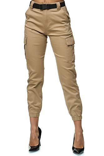 Elara Pantalon Cargo Femme Slim Fit Denim Chunkyrayan 3D949 Khaki 36