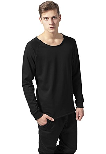 Urban Classics Long Open Edge Terry Crewneck, Felpa Uomo Nero