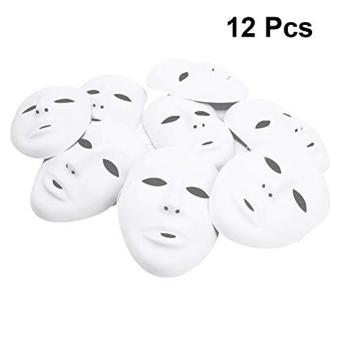 Amosfun Halloween Männliche Vollmaske Cosplay Party DIY Blank Malerei Maske Halloween Ghost Cosplay Maskerade Party Maske 12 STÜCKE