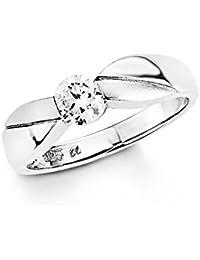 Amor Damen-Ring Silberring 925 Sterling Silber rhodiniert teilmattiert Zirkonia weiß