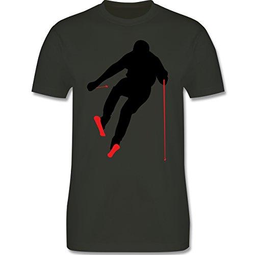 Wintersport - Abfahrt Skipiste - Herren Premium T-Shirt Army Grün