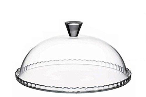 Sweet Home Assiette à gâteau en verre avec cloche - art. 2195119 - Lon. 32 cm - Lar. 32 cm - Hau. 15 cm - Ø32 cm by Varotto & Co.