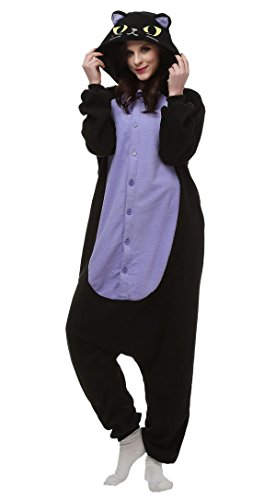 Aivtalk Tier Onesie Schlafanzug Pyjama Kostüm Sleepsuit Jumpsuits Erwachsene Unisex Kigurumi Tieroutfit Fasching Karneval Cosplay Fleece-Overall - Schwarz Katze