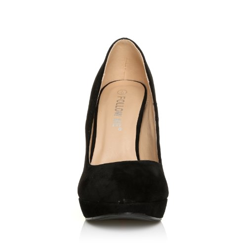 ShuWish UK - Escarpins plateforme talon aiguille imitation daim EVE noir daim noir